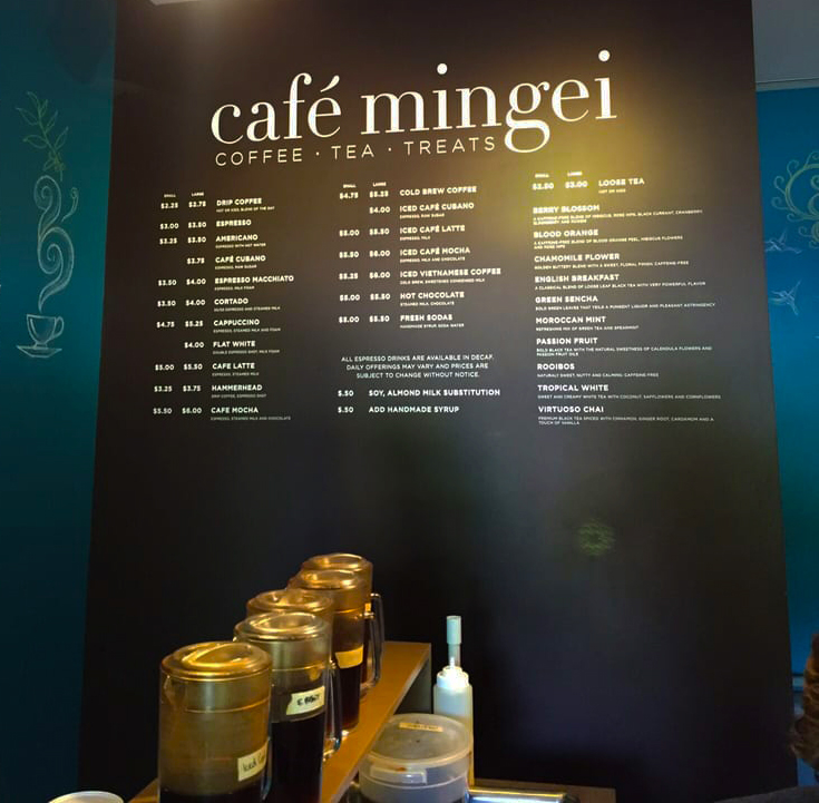 Cafe Mingei menu board
