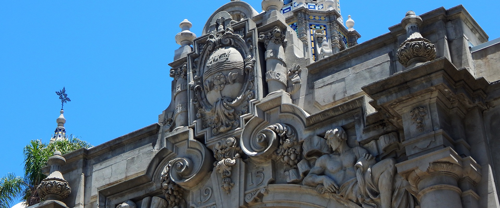 Intricate carvings on an arch at Balboa Park