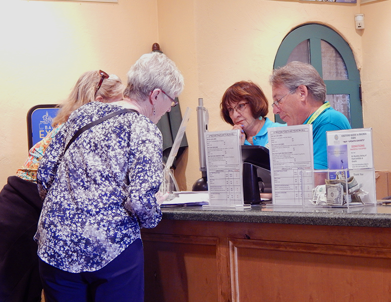 Visitors in the Visitors Center at Balboa Park