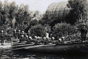 Historical picture of the Navy rowing in the Lily Pond at Balboa Park